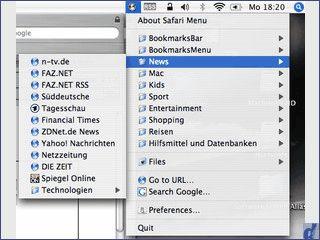Über ein Icon in der Menüleiste haben Sie Zugriff auf die Safari Bookmarks