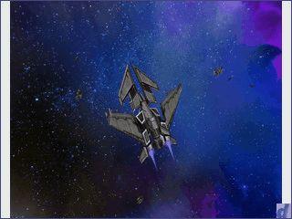 Bildschirmschoner in dem sich Raumschiffe einen Kampf liefern.