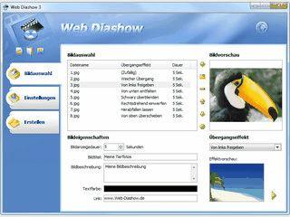 Erstellt aus Bilddateien automatisch Flash-Diashows für Ihre Webseite.