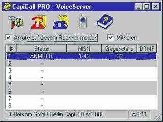 ISDN-basiertes Sprach-Informationssystem mit Anrufbeantworter.