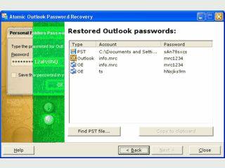 Wiederherstellung aller in MS Outlook gespeicherten Passwörter.