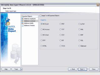Datenexport von MySQL Daten in 15 verschiedene Formate.