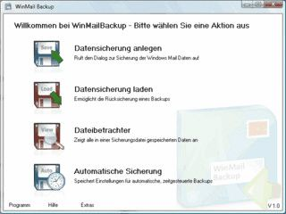 Sicherung aller wichtigen Windows Mail und Windows Live Daten.