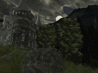 Ein gotisches Schloss bei Wind und Regen.