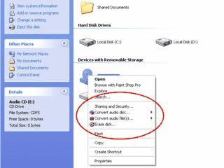 Über den Windows Explorer CDs/DVDs Brennen, Rippen und Konvertieren.
