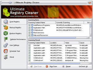 Werkzeug zur Suche und Beseitigung von Fehlern in der Windows Registry.