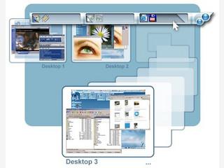 Beliebig viele virtuelle Desktops mit Skin Support und Haftnotizen.