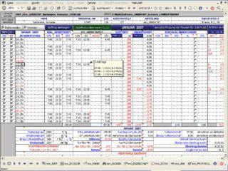 Arbeitszeitverwaltung auf Basis von MS Excel.
