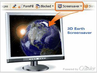 Interaktiver 3D Bildschirmschoner der Erde.