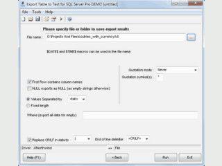 Export von Tabellendaten des MS SQL Servers in Flat-Text Datenbanken.