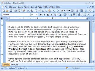 Textverarbeitung für TXT und RTF Textdateien.