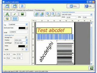 Software zum Gestalten von Etiketten mit Barcodes, Text usw.