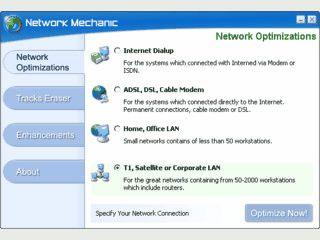 Optimiert den Internetzugang für schnellere Verbindungen. Beseitigt Surfspuren.