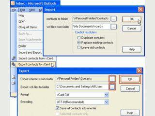 Import und Export von beliebig vielen vCard Datensätzen gleichzeitig.