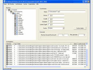 Dateisuche Im LAN. Kriterien sind Dateiname, Pfad, Grösse, Dateidatum.