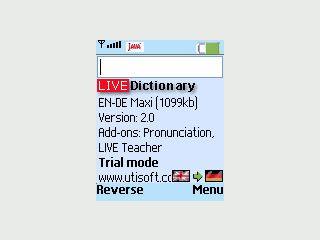 Englisch - Deutsches Wörterbuch mit 65.000 Wörtern für Java-fähige Handys.