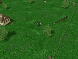 Bildschirmschoner der die Szenerie eines Bauernhofes zeigt.