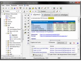 Komfortable Ablage und Organisation von Notizen, Dokumenten, Daten aller Art