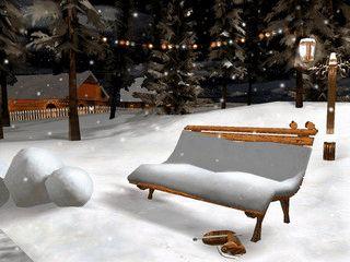 Der Bildschirmschoner zeigt eine schön animierte Winterlandschaft.