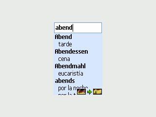 Spanisch - Deutsches Wörterbuch mit 65.000 Wörtern für Java-fähige Handys.