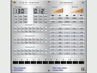 Ausgereiftes, digitales Metronom für Musiker mit Editor für variable Tempi.