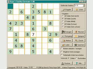 Erzeugt Sudokus der Größen 9x9, 12x12 und 16x16 zum Lösen oder Ausdrucken.