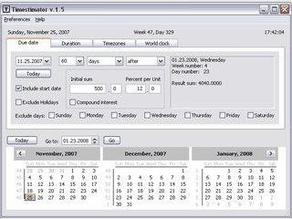 Berechnungen rund um das Datum. Z.B. die Anzahl von Tagen zwischen 2 Daten.