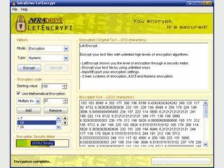 Verschlüsselt Text in ASCII oder nummerische Zeichen.