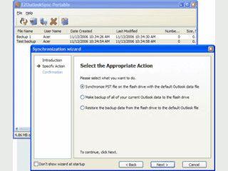 MS Outlook Synchronisierung mit Hilfe eines USB-Sticks.