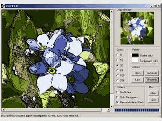 Tool zur Bildmanipulation. Hebt Konturen hervor und reduziert die Farben.