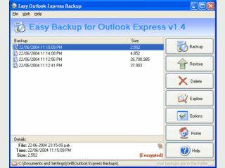 Sichert alle Daten von MS Outlook Express und schützt diese mit einem Passwort.