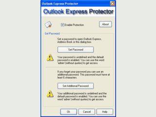 Den Zugang zu MS Outlook Express mit einem Passwort schützen.