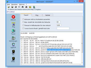 Grafisches TraceRoute zur Verfolgung von IP-Adressen und Ping-Utilitie.