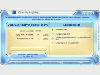 Überprüft die Windows Registry und beseitigt fehlerhafte Einträge.