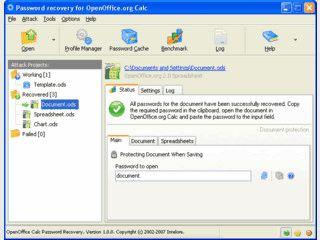 Wiederherstellung von Passwörtern der OpenOffice Tabellenkalkulation Calc.
