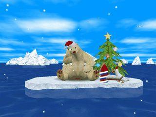 Ein animierter Eisbär vertreibt sich die Weihnachts-Zeit auf einer Eisscholle.