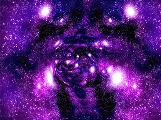 Der Bildschirmschoner führt Sie zu einem schwarzen Loch im Weltraum.
