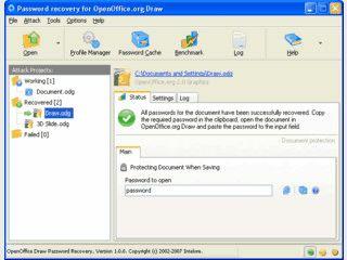 Passwort-Recovery für OpenOffice Draw Dokumente ODG, SXD, OTG und STD.