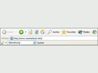 Toolbar zur schnellen Wortübersetzung Deutsch-Englisch-Deutsch