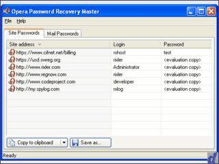 Recoverytool für Passwörter von Webseiten und Email Accounts mit Opera.