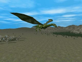 Animierte Drachen die über eine zufällig generierte 3D Landschaft fliegen.