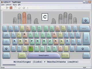 10-Finger-System Schreibtrainer f�r Maschinenschreiben