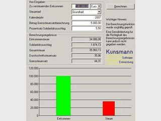 Einfacher Einkommenssteuer-Rechner nach Grund- oder Splittingtarif.