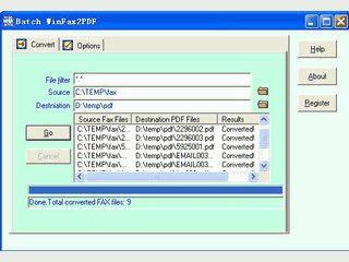 Konvertiert typische FAX-Formate in PDF Dateien.