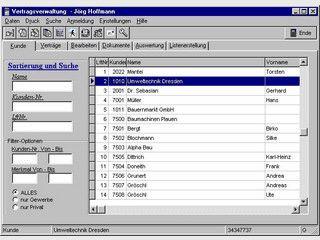 Bürosystem für Assekurzmakler, mit Kunden-, Korrespondenz und Vertragsverwaltung