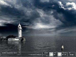 Schöner animierter Bildschirmschoner einer Küstenlandschaft mit Leuchtturm.