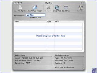 Einfaches Tool zum Brennen von Daten-CDs.