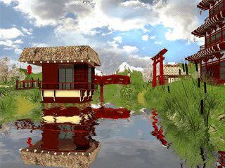 Animierte japanische Gartenlandschaft.