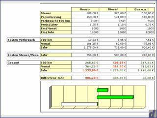 Vergleichsrechner für die Anschaffung eines Gas, Diesel oder Benzin KFZ.