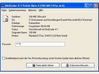 Verschlüsselung für Dateien und ORdner mit AES und SHA 512.